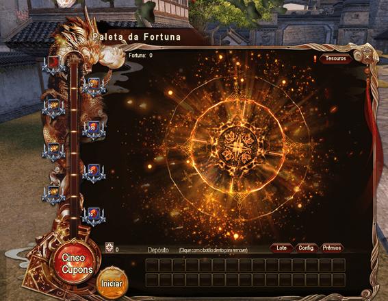 Interface com as opções do sistema da Paleta da Fortuna